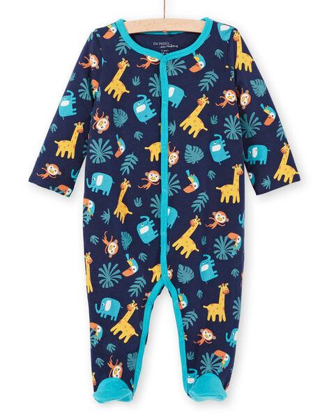 Tutina double face blu notte stampa animali neonato MEGAGREANI / 21WH1486GREC205