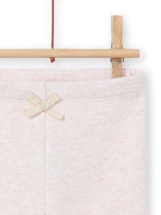Leggings foderati rosa melange con motivi conigli ricamati neonata MIJOPANDOU3 / 21WG0912PAND314