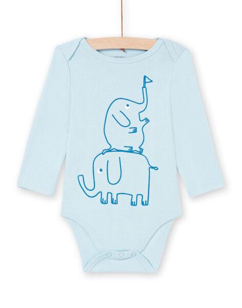 Body a maniche lunghe blu con motivi elefanti neonato MEGABODELE / 21WH14B2BDL222
