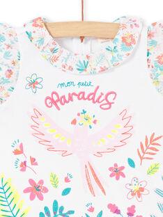 T-shirt bianca con volant neonata LIBONBRA / 21SG09W1BRA000