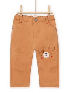 Pantaloni marroni con inserti motivo orsetto neonato MUFUNPAN2 / 21WG10M2PANI820