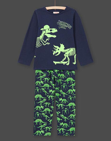 Pigiama fosforescente blu notte con motivi dinosauri bambino MEGOPYJGLOW / 21WH1236PYJ705