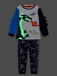 Set pigiama stampa drago fosforescente bambino MEGOPYJGON / 21WH1295PYJJ922