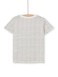 T-shirt ecrù e arancione a righe bambino LOTERTI5 / 21S902V1TMC001