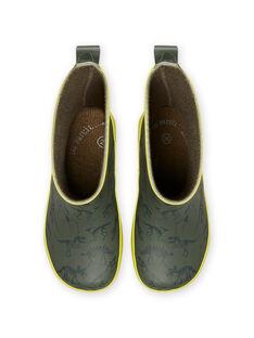 Stivali da pioggia kaki con stampa dinosauri bambino MOPLUIKAKI / 21XK3614D0C604