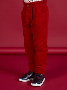Pantaloni stile paperbag in velluto a costine rossi bambina MAFUNPANT2 / 21W901M1PANF504