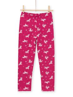 Completo pigiama T-shirt e pantaloni rosa scuro bambina MEFAPYJLIC / 21WH1173PYGD312