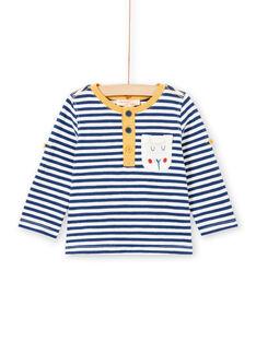 T-shirt a righe a maniche lunghe rimboccabili neonato MUJOTUN2 / 21WG1024TML713