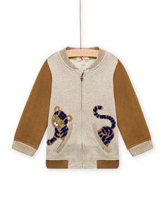 Cardigan beige melange e marrone con motivo tigre neonato MUKAGIL / 21WG10I1GIL604