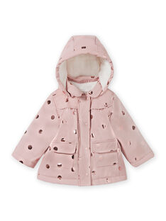 Impermeabile rosa a pois dorati neonata MIGOIMP / 21WG0951IMPD332