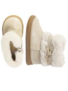 Stivaletti apertura pelliccia crosta di pelle con glitter beige neonata GBFBOOTCHIC / 19WK37Y2D0D080
