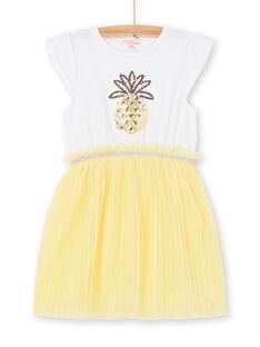 Abito bianco e giallo bambina LAJAUROB5 / 21S901O5ROB000