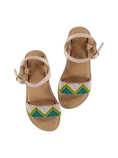 Sandali da città in pelle e perline bambina FFSANDJU / 19SK35D4D0E301