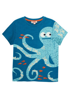T-shirt bambino turchese scuro maniche corte con stampa piovra JOBOTI4 / 20S902H2TMCC219