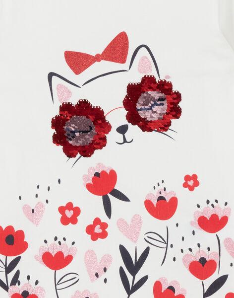 T-shirt maniche lunghe, stampa gatto e fiori LAROUTEE2 / 21S901K2TML001