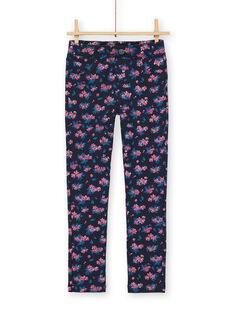Jeggings blu scuro e rosa con stampa a fiori in tessuto felpato spazzolato LAJOPANT1 / 21S90133D2BC205