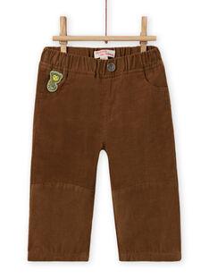 Pantaloni marroni in velluto a costine neonato MUKAPAN2 / 21WG10I1PAN803