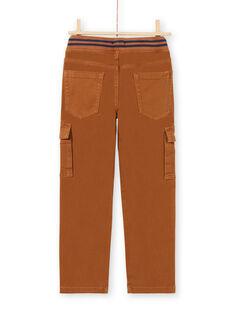 Pantaloni cargo in sergé marroni bambino MOJOPAMAT4 / 21W90227PAN812
