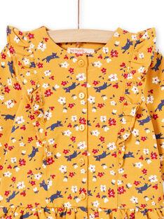 Abito giallo senape con stampa a fiori e leggings navy neonata MIMIXENS / 21WG09J1ENSB106