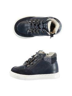 Sneakers pelle navy fodera calda neonato GBGBASCHO / 19WK38Y1D3F070