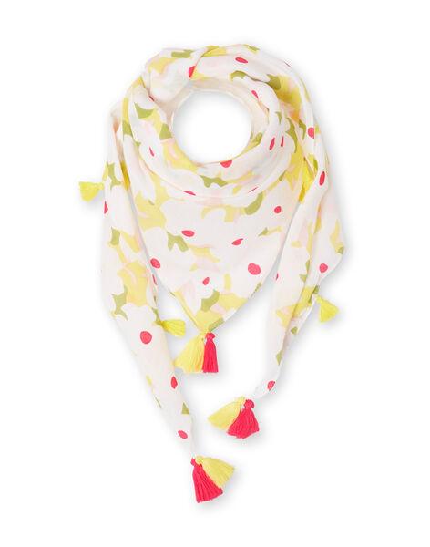 Foulard bianco e giallo con stampa a fiori bambina LYAJAUFOUL / 21SI01O1FOU000