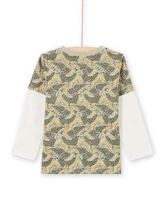 T-shirt kaki e blu con stampa leopardata bambino MOKATEE3 / 21W902I2TML612