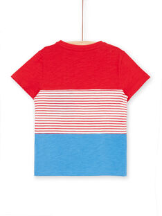 T-shirt rosso e blu a righe bambino LOVITI5 / 21S902U6TMC505