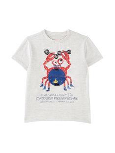 T-shirt bambino maniche corte grigio chiaro melange granchio JOCEATI2 / 20S902N2TMCJ920