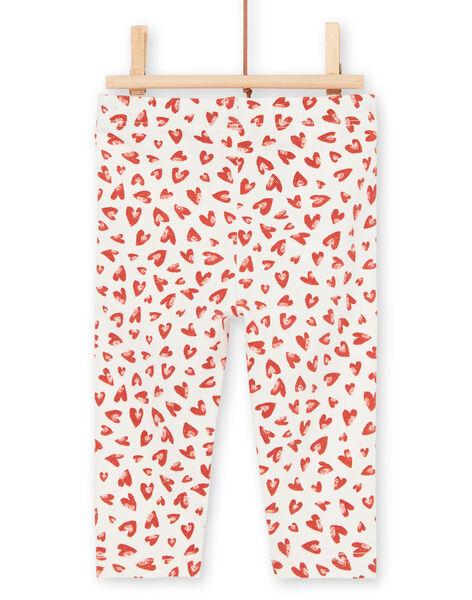 Leggings ecrù e rosso neonata LYITERLEG / 21SI09V1CAL001