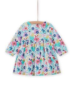 Abito in velluto a costine multicolore con stampa a fiori neonata MIPLAROB4 / 21WG09O4ROB001