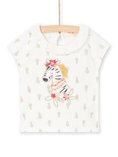 T-shirt ecrù con stampa ananas neonata LITERBRA / 21SG09V1BRA001