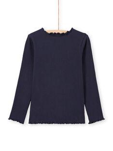T-shirt a costine maniche lunghe tinta unita blu notte bambina MAJOUTEE2 / 21W90122TMLC205