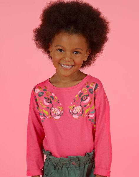 T-shirt a maniche lunghe rosa con motivi leopardati bambina MAKATEE2 / 21W901I1TMLD305