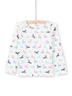 T-shirt ecrù e rosa stampa unicorno bambina MAPLATEE3 / 21W901O2TML001