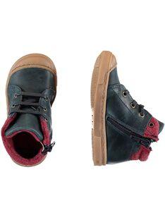 Sneakers con lacci pelle navy neonato GBGBASBOU / 19WK38X1D3F070
