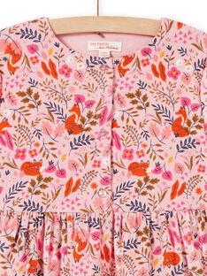 Abito rosa antico con stampa a fiori fantasia in velluto bambina MASAUROB1 / 21W901P2ROB303