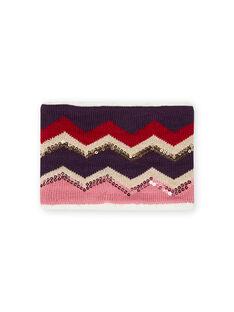 Scaldacollo in maglia con motivi spigati bambina MYAFUNSNOO / 21WI0161SNOH700