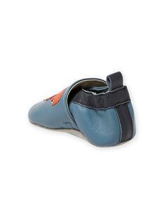 Pantofole in pelle blu motivi dinosauri neonato MUCHOSAUR / 21XK3822D3SC201