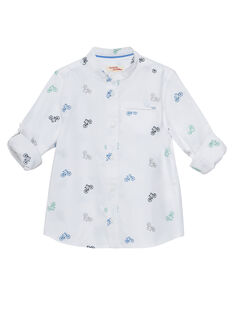 Camicia bianca in popeline bambino con ricamo biciclette. JOPOESHIRT / 20S902G1CHM000