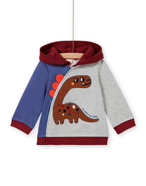 Cardigan con cappuccio tricolore con motivo dinosauro neonato MUPAGIL / 21WG10H1GIL943