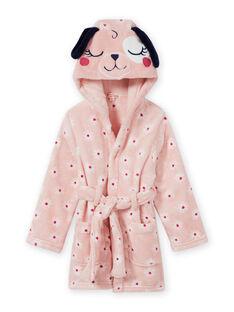 Accappatoio rosa con stampa a fiori e motivo cane bambina MEFAROBDOG / 21WH1181RDC307