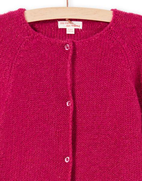 Cardigan maniche lunghe tinta unita rosa bambina MAJOCAR4 / 21W90122CARD312