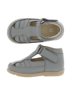 Baby boys' leather T-bar shoes CBGSALSAND / 18SK38W3D3H940
