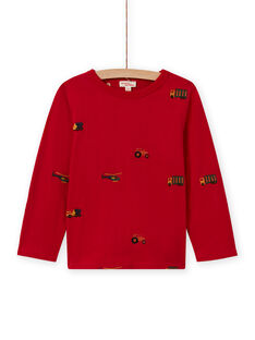 T-shirt a maniche lunghe rossa con stampa auto, trattori e elicotteri bambino MOCOTEE2 / 21W902L4TMLF521