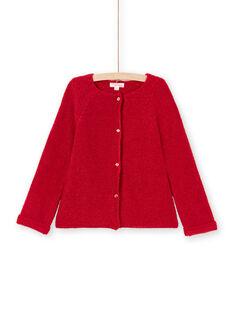 Cardigan a maniche lunghe tinta unita rosso bambina MAJOCAR5 / 21W90121CAR511
