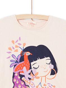 T-shirt a maniche corte rosa chiaro con motivi bambina e pavone bambina MAPATI2 / 21W901H2TMCD319