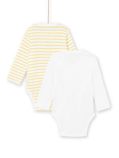 Set 2 body giallo e bianco nascita bambino LOU1BOD2 / 21SF04H2BOD000
