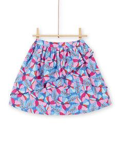 Gonna blu lavanda e rosa con stampa a fiori e righe Lurex® in cotone LABLEJUP1 / 21S901J1JUPC208