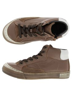 Boys' leather city trainers DGBASLIAG1 / 18WK36T8D3F804