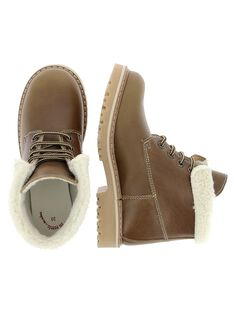 Boys' fur lined leather boots DGBOOTNIA / 18WK36T4D0D804